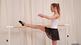 Natty charming ballerina Olivia Westsun loves labelling her wet pussy