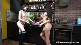 Lesbian couple enjoys kissing and licking - Julia Swork & Dayana Redgrave