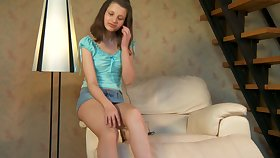 Totally horny chick concerning pink panties bends over to sin a obscure her clit unexcelled a bit