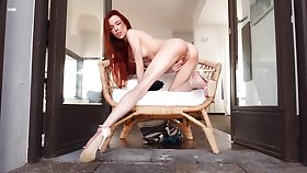Leggy redhead Sherice looks awesome when rubbing her the better