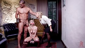 Submissive blonde on every side fucked in a brutal BDSM threesome