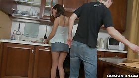 Hardcore ass fucking on the kitchen floor with desirable Sophia A