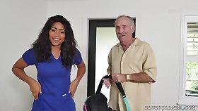 Big-Breasted Ebony Nurse Fucks Nearly A Real Old Alms-man