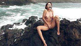 Majestic outdoor maltreat with Ariela, as A waves crash in the backdrop