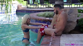 Hot babe having sex with a swimming omnibus while her hubby is handy work