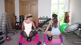 Post-workout threesome all over hot babes Cristal Caitlin and Giorgia Roma