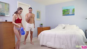 Cute ecumenical Riley Reid finds stepbrother's sperm on her panties