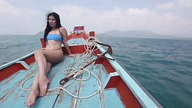 Sexy bootyful brunette bikini girl Cassie rides cock outlandish on the beach