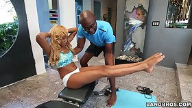 Ebony teen throats her personal trainer's cock the sloppy way