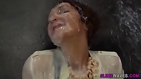 Horny step Sister plays with the non stop cum shooting dildo