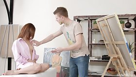 Aroused teen fucked by her boyfriend by way of a naughty painting ascription