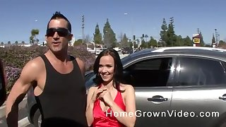 Brunette MILF with fake tits picked up on the street and fucked hard