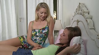 Lesbian couple in shorts Lena Nicole and Aidra Fox lick ass
