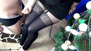 (60fps) Hot Cumshot on Leggings while she Handjob to me - SanyAny