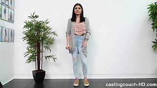 Amateur brunette Alex ass fucked by a black guy on casting