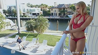 Blonde MILF Sarah Vandella gets cum on tits after fucking the pool guy