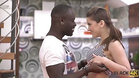 Charming white teen Evelina Darling is convention love with black boyfriend