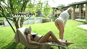 Old lesbian is toying and licking pussy of yummy blond girl Samantha