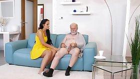 Young busty nurse Jennifer Mendez gives a blowjob and titjob to several old man