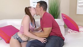 Caucasian pigtailed 20 yo GF Danni Rivers enjoys such a good cunnilingus
