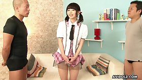 Not so shy Japanese girl lets perverted men touch her body for some bluff cash